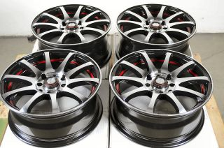 Black Red 4 Lug Wheels Miata Jetta Golf Accord Cooper CRX Rims