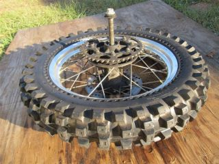 87 07 KLR 650 KLR650 REAR WHEEL RIM COMPLETE WITH ROTOR AXLE TIRE CUSH