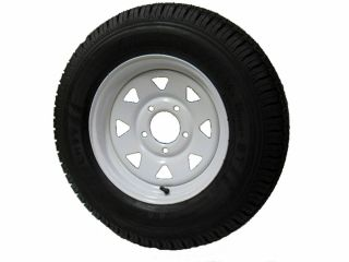 LRC Vail Sport Trailer Tire 15x5 5 Bolt White Spoke Wheel Rim