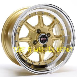 16 INCH STR504G GOLD/MACHI RIMS AND TIRES 4X100 ACCORD CIVIC FIT