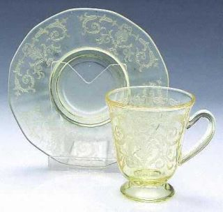 Fostoria Versailles Topaz Demitasse Cup and Saucer Set   Stem #5099, Etch#278, T