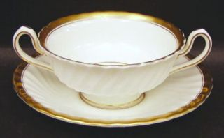 Minton Gold Rose Footed Cream Soup Bowl & Saucer Set, Fine China Dinnerware   Sc