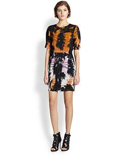 Line & Dot Silk Palm Tree Print Dress   Sunset Boulevard
