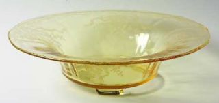 Fostoria June Topaz/Yellow 3 Toed Footed Bowl   Stem #5098, Etch #279, Yellow