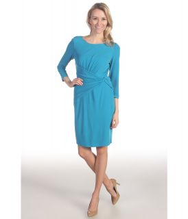 Suzi Chin for Maggy Boutique 3/4 Sleeve Ruched Sheath Dress Womens Dress (Blue)