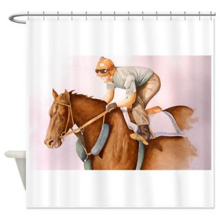 Race Horse and Jockey/water color Shower Curtain  Use code FREECART at Checkout
