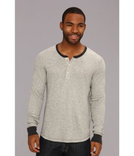 Lucky Brand Double Fabric Contrast Henley Mens Long Sleeve Pullover (White)