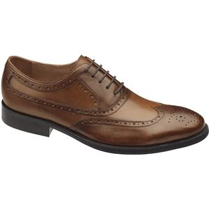 Johnston & Murphy Mens Tyndall Wing Tip Saddle Tan Shoes   20 3152