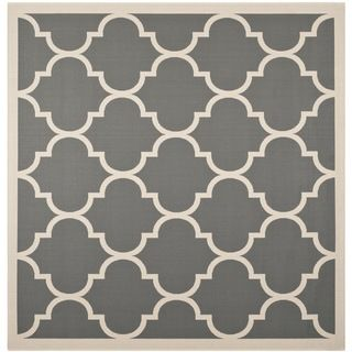 Easy to maintain Safavieh Indoor/ Outdoor Courtyard Anthracite/ Beige Rug With Contemporary Geometric Pattern (710 Square)
