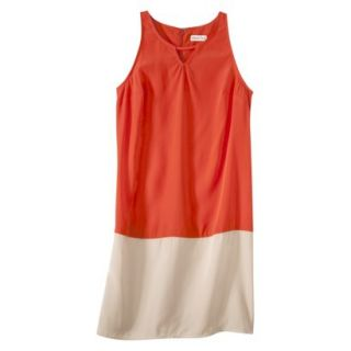 Merona Womens Colorblock Hem Shift Dress   Hot Orange/Hamptons Beige   M