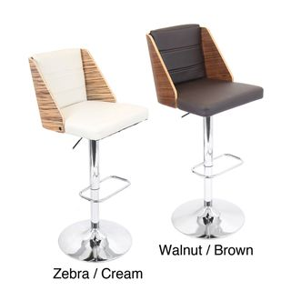Galanti Bent Wood Adjustable Barstool (Walnut wood/ brown seat or zebra wood/ cream seatMaterials Wood, PU, foam padding, chromeHardware finish Chrome footrest, base and poleNumber of Stools One (1)Seat Height 27.25 to 32.25 inches (adjustable)Seat Wi