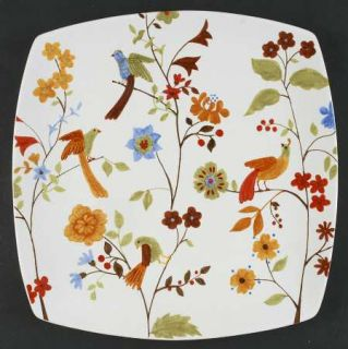 222 Fifth (PTS) Bird Delight White Square Chop Plate, Fine China Dinnerware   Fl