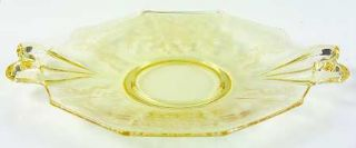 Fostoria June Topaz/Yellow Handled Cake Plate   Stem #5098, Etch #279, Yellow