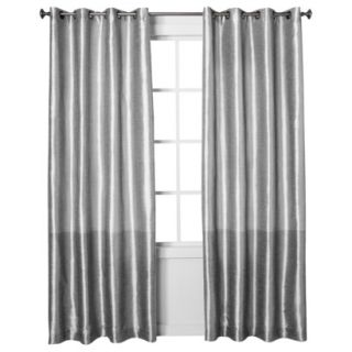 Threshold Banded Faux Silk Window Panel   Silver (54x95)