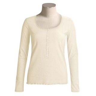 Calida Excelsior Henley Shirt   Stretch Cotton  Long Sleeve (For Women)   SNOW WHITE (XS )
