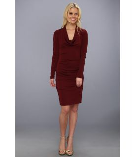 Nicole Miller Matte Jersey Cowl Neck Dress Womens Dress (Burgundy)