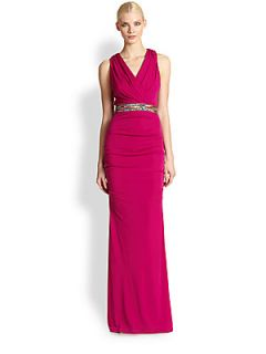 Nicole Miller Stretch Matte Jersey Gown   Pink Berry