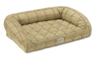 Deep Dish Dog Bed With Memory Foam / Medium Dogs Up To 40 60 Lbs., Tan Multi Plaid,