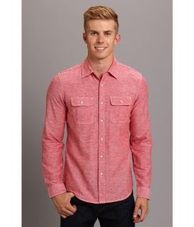 Fresh Brand Cotton Updated Workwear Long Sleeve Shirt Mens Long Sleeve Button Up (Red)
