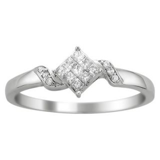 1/4 CT. T.W. Princess Cut Diamond Composite Set Promise Ring in 14K White Gold