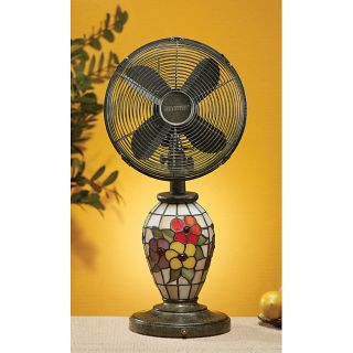 Deco Breeze 10 inch Mosaic Glass Flowers Table Fan