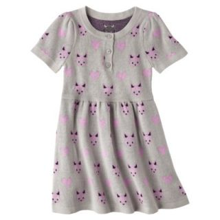 Infant Toddler Girls Short Sleeve Knit Fox Dress   Grey 18 M
