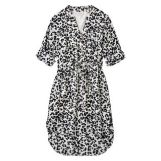 Merona Womens Drawstring Shirt Dress   Animal Print   XS