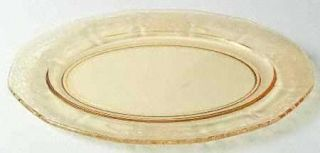 Fostoria June Topaz/Yellow Oval Platter   Stem #5098, Etch #279, Yellow