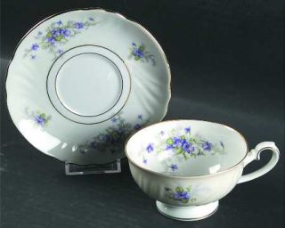 Johann Haviland Violets(Newer,Gold Inner Ring,Cream Rim) Footed Cup & Saucer Set
