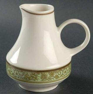 Noritake Moon Valley Creamer, Fine China Dinnerware   Expression Line, Green Flo