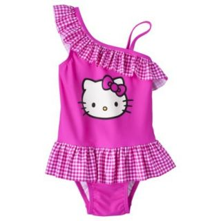 Hello Kitty Toddler Girls Asymmetrical 1 Piece Swimsuit   Pink 3T