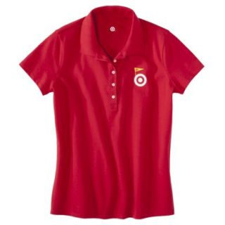 Womens Red Banner Art Short Sleeve Polo   L