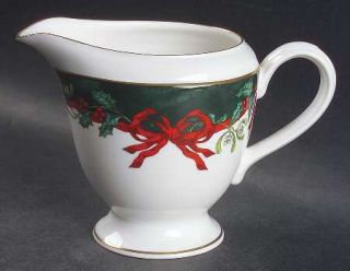 Royal Worcester Holly Ribbons Green Creamer, Fine China Dinnerware   Garrick Sha
