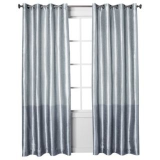 Threshold Banded Faux Silk Window Panel   Blue (54x84)