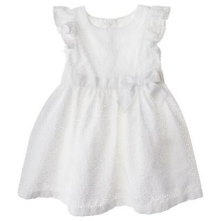 Cherokee Infant Toddler Girls Eyelet Flutter Sleeve Dress   White 2T