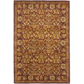 Safavieh Antiquities Garden Panel Wine/Gold Rug AT51A Rug Size 4 x 6
