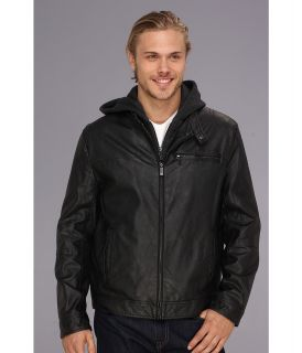 Kenneth Cole Reaction Faux Leather Hipster with Hood Mens Coat (Black)