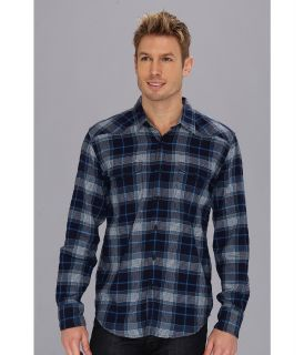 Lucky Brand Clendenning Crinkle Western Mens Long Sleeve Button Up (Blue)
