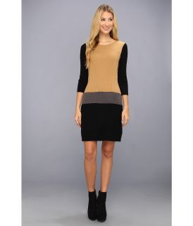 London Times Three Quarter Sleeve Colorblock Sweater Dress Womens Dress (Tan)