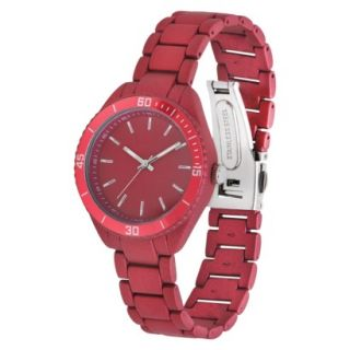 Merona Metallic Round Case Bracelet Watch   Red