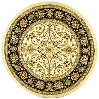 Lyndhurst Collection Majestic Ivory/ Black Rug (53 Round)