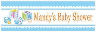 Baby Boy Blocks Personalized Vinyl Banner    24 x 72 Inches, Blue, Green, White, Yellow