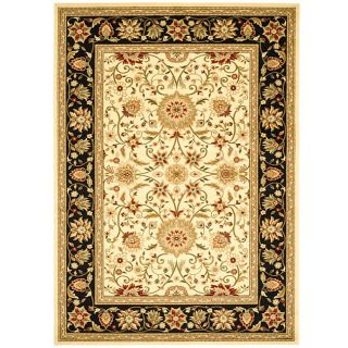 Lyndhurst Collection Majestic Ivory/ Black Rug (8 X 11)