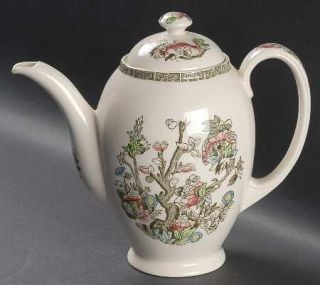 Johnson Brothers Indian Tree (Green Key, Cream) Coffee Pot & Lid, Fine China Din