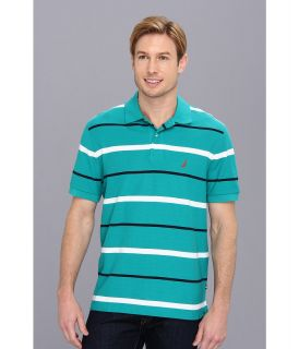 Nautica S/S Striped Deck Polo Shirt Mens Short Sleeve Pullover (Green)