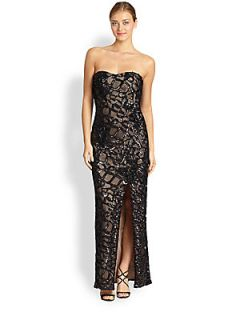 Aidan Mattox Embellished Strapless Column Gown   Black