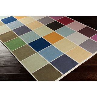 Hand woven Cajan Flat Weave Checkerboard Multi Wool Rug (8 X 11)