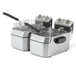 Waring Countertop Double Deep Fryer w/ 15 lb Capacity Each & 3 Baskets, Timer, 240V