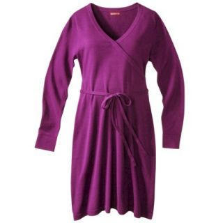 Merona Maternity Long Sleeve V Neck Sweater Dress   Purple S