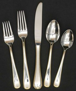 Gorham Golden Ribbon Edge (Stnl, Gold Accents) 5 Piece Place Setting   Stainless